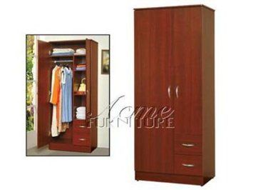 Amazon.com: Modern Contemporary Cherry Finish Wood Wardrobe by Acme Furniture: Home & Kitchen