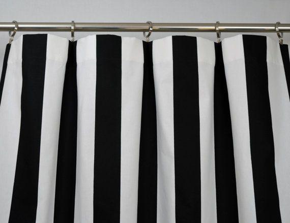 Black White Modern Vertical Stripe Curtains Rod Pocket 84 Etsy