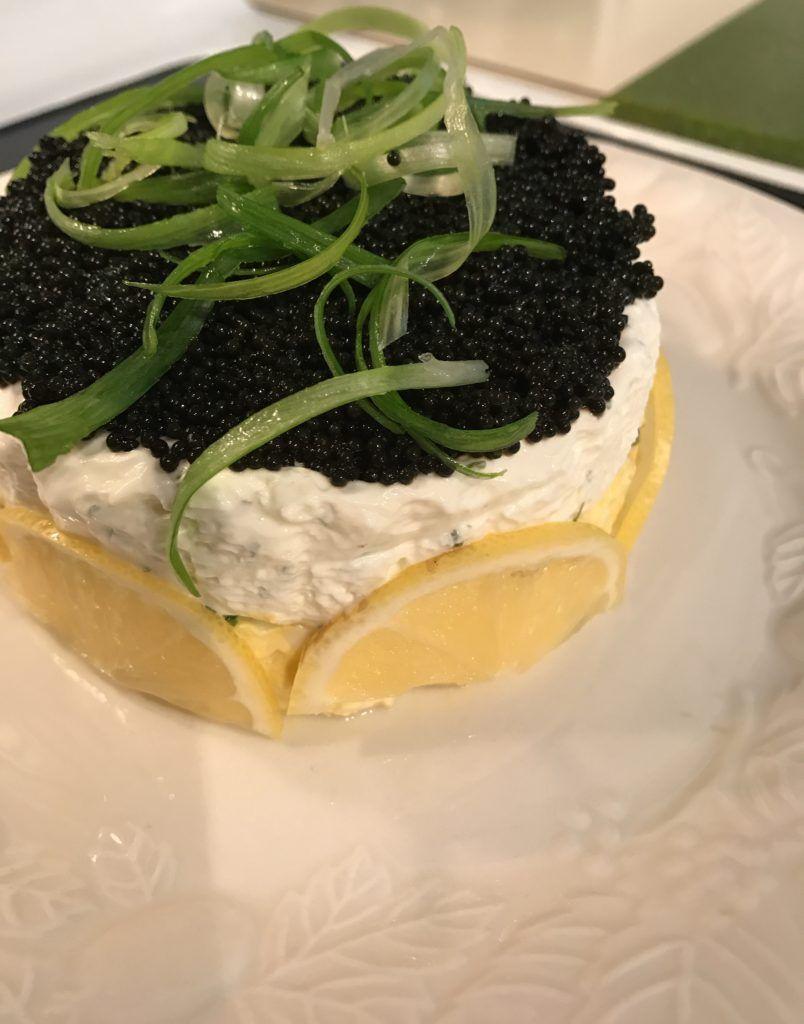 Caviar pie fancy appetizer with caviar eggs and cream