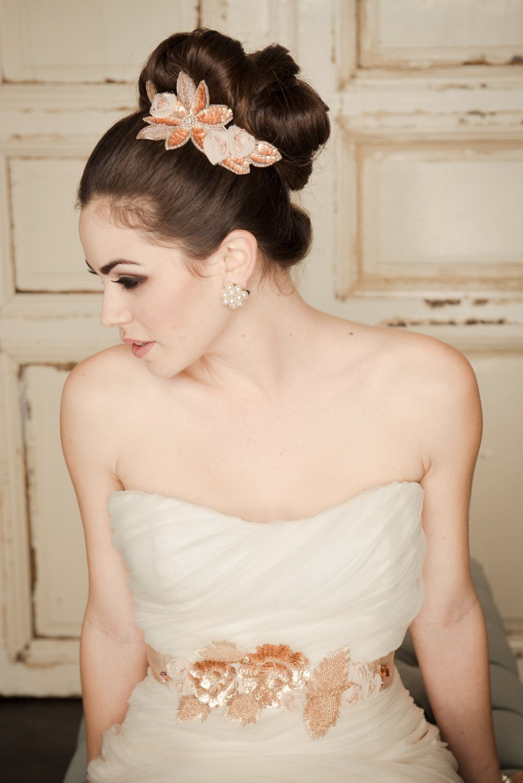 Gold belt for wedding dress  Bridal hair  bridal hair  Pinterest  Bridal hair and Hair style