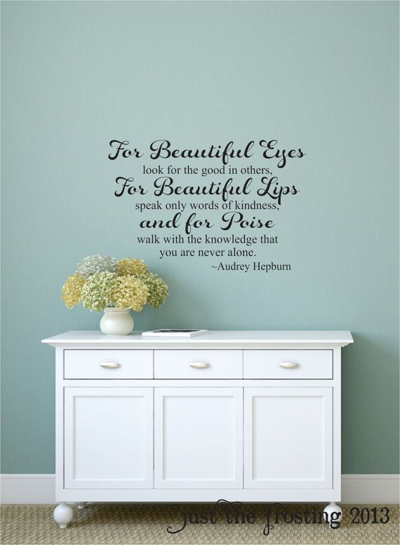 audrey hepburn for beautiful eyes quote wall decal, teen girl's