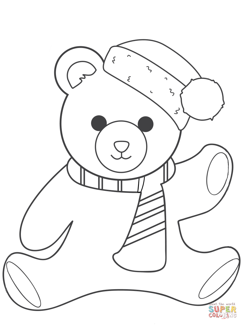 Christmas Teddy Bear Coloring Page Free Printable Coloring Pages Teddy Bear Coloring Pages Polar Bear Coloring Page Bear Coloring Pages