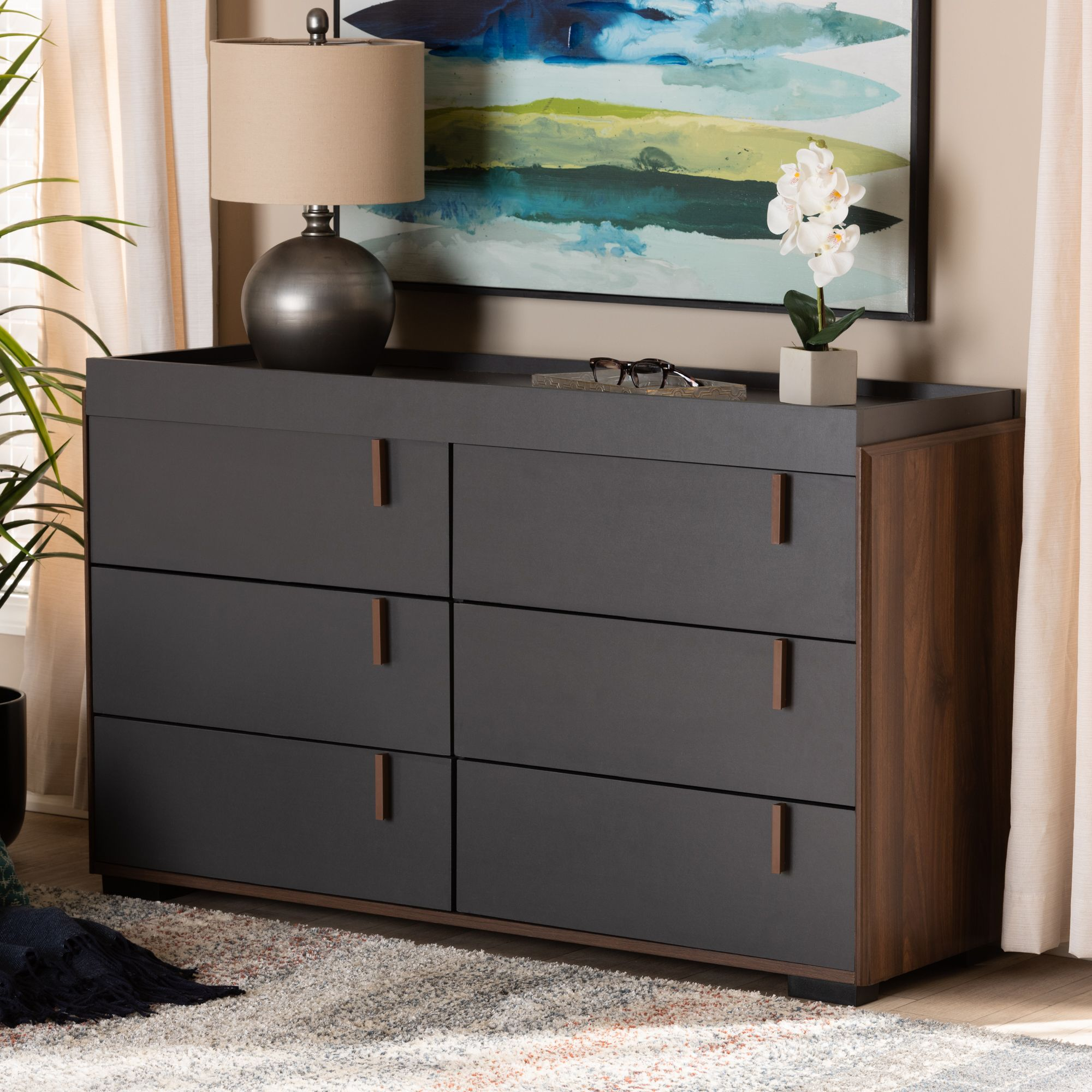 Walnut Finished Wood 6 Drawer Dresser