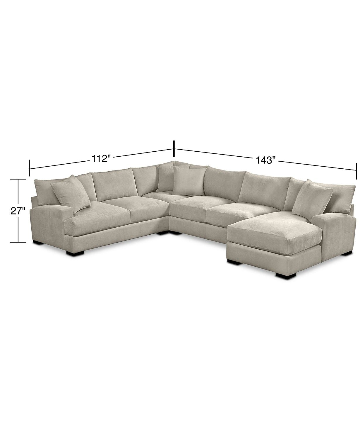 Furniture Rhyder 4 Pc 112 Fabric Sectional Sofa With Chaise