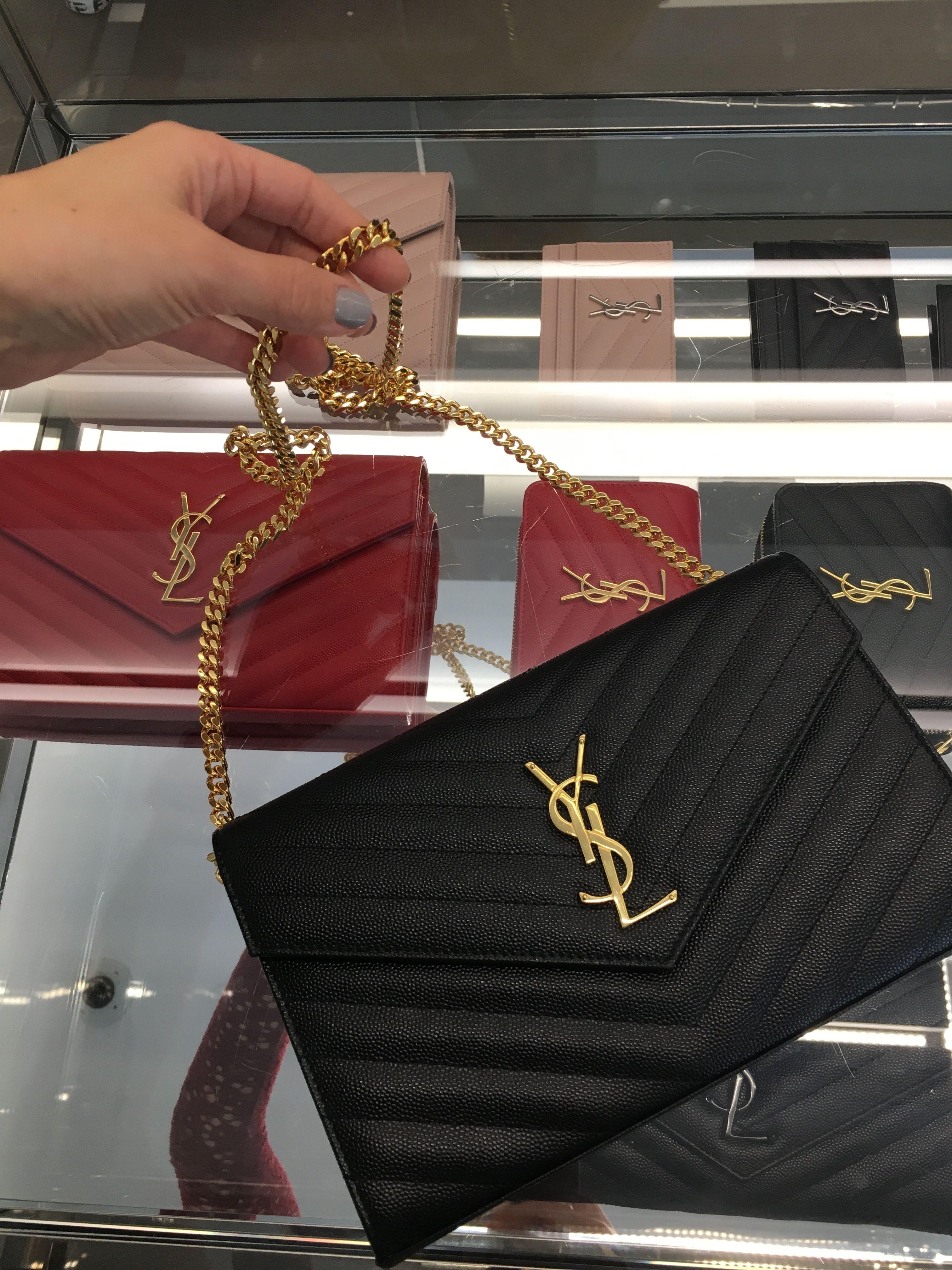 dacb7de8ef Saint Laurent black monogram chain wallet $1650 @ ysl.com My dream  crossbody purse