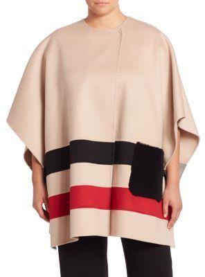Marina Rinaldi, Plus Size Shearling Pocket Striped Virgin Wool Cape