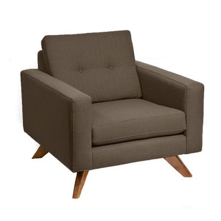 Midcentury Inspired Arm Chair With Dolphin Hued Linen And