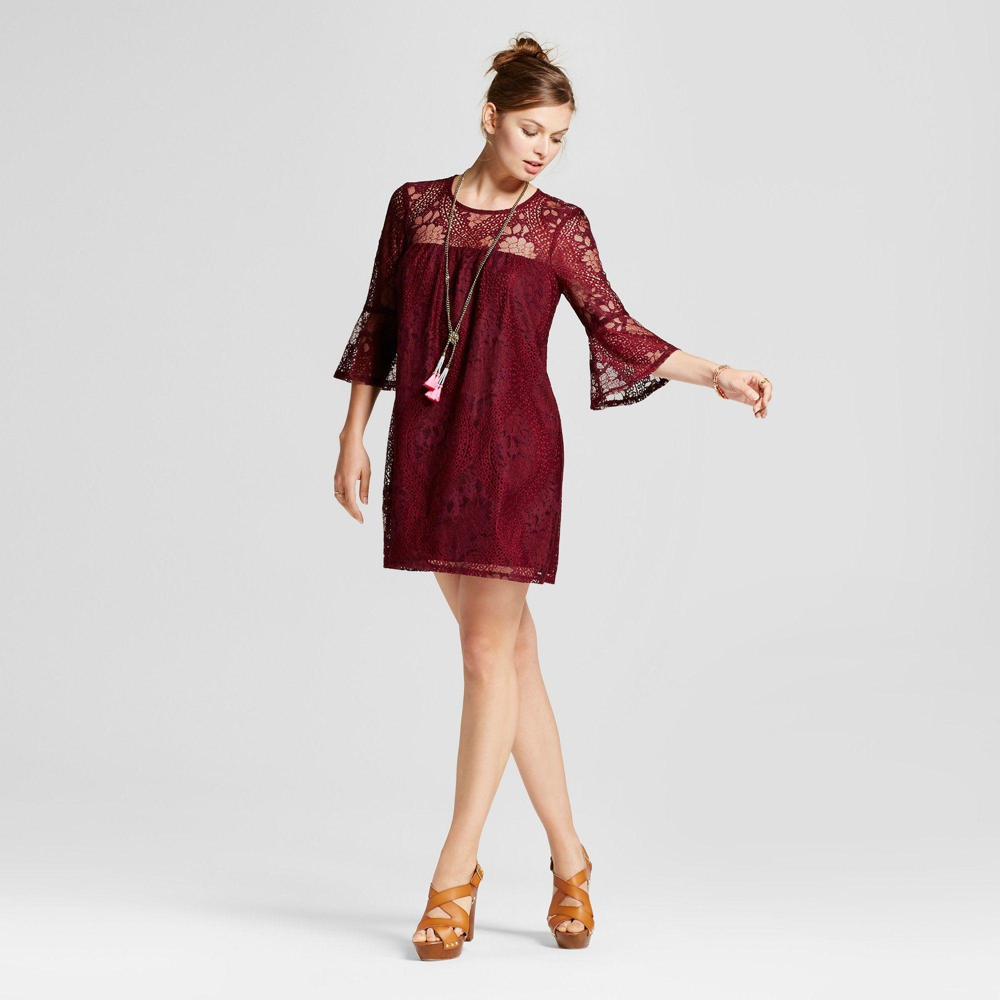 e717ef562ec Women s Lace 3 4 Bell Sleeve Shift Dress - Lots of Love by Speechless ( Juniors ) Burgundy XS