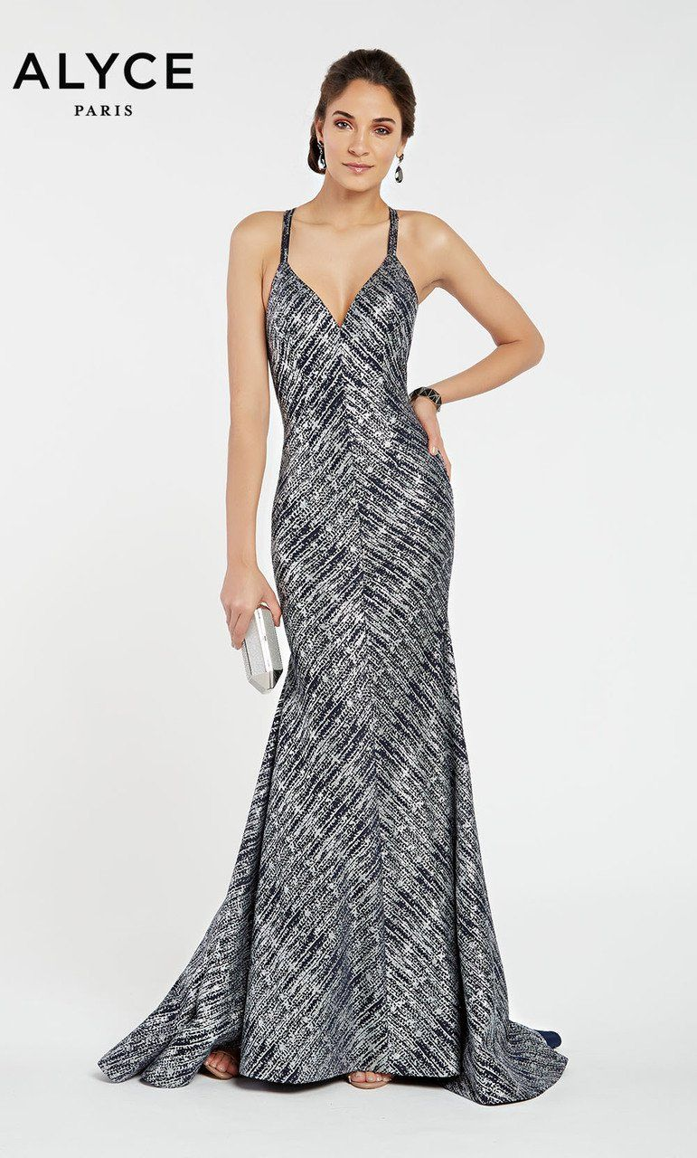 7c9dbbed73 Make a statement at your next special occasion in this Alyce Paris 60557  dress. Featuring straps that lead to its intricate strappy open back and a  v-cut ...