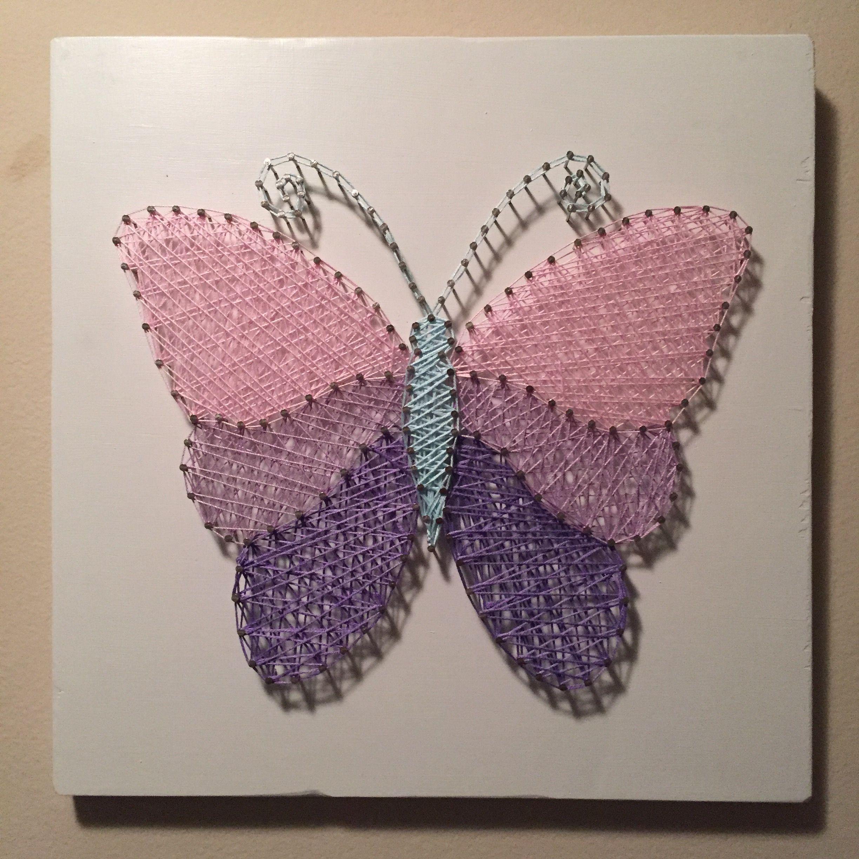 butterfly string art on painted wood string art vorlagen. Black Bedroom Furniture Sets. Home Design Ideas