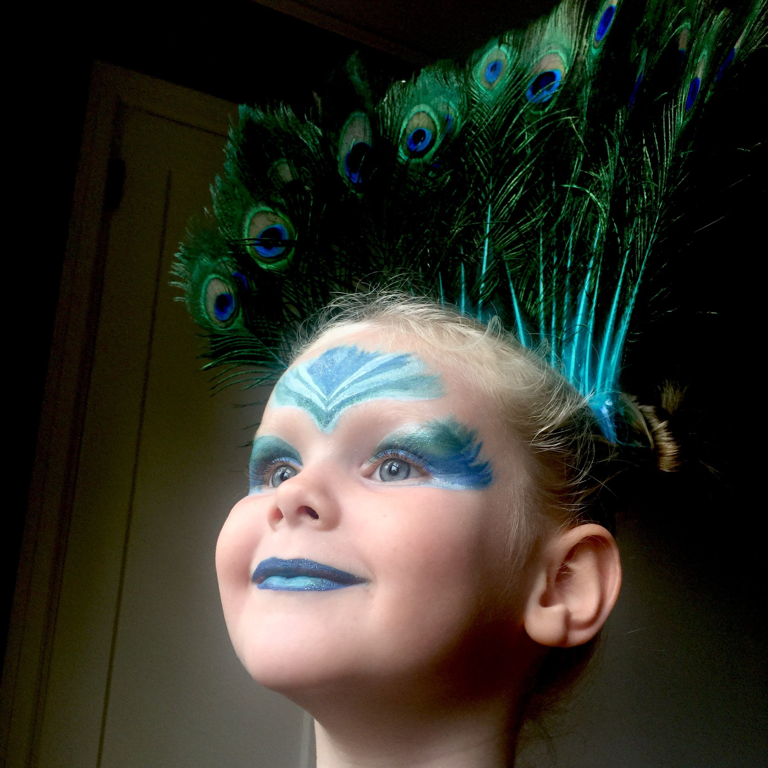 Peacock Face Paint Halloween Kids Costume Face Painting Halloween Peacock Face Painting Halloween Costumes For Kids