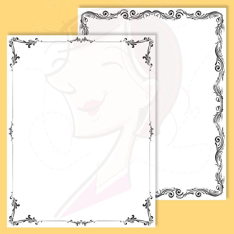 Decorative Antique Leaf Frame and Flourish Swirls Borders Page ...