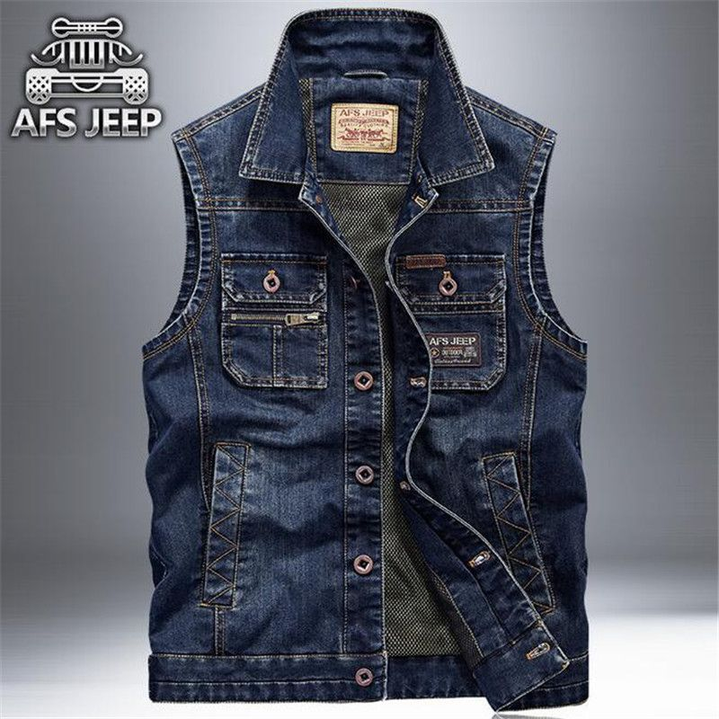 Afs Jeep 2016 Men 39 S Denim Fashion Sleeveless Jacket