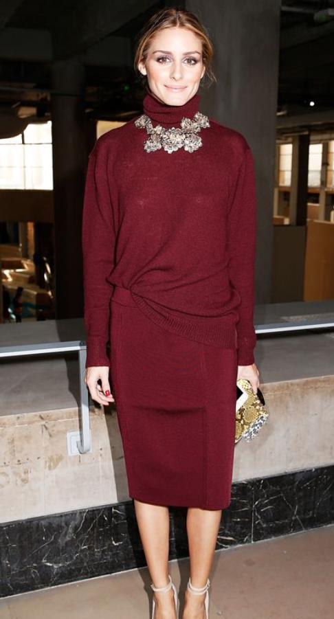 Olivia Palermo Fashion, Marsala color fashion, Style