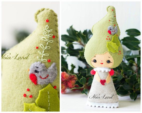 PDF Pattern. Holly fairy and Christmas Robin | Rotkehlchen, Navidad ...
