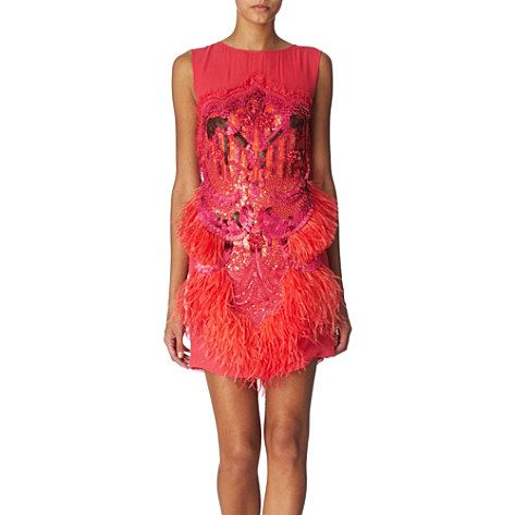 MATTHEW WILLIAMSON Embellished feather dress