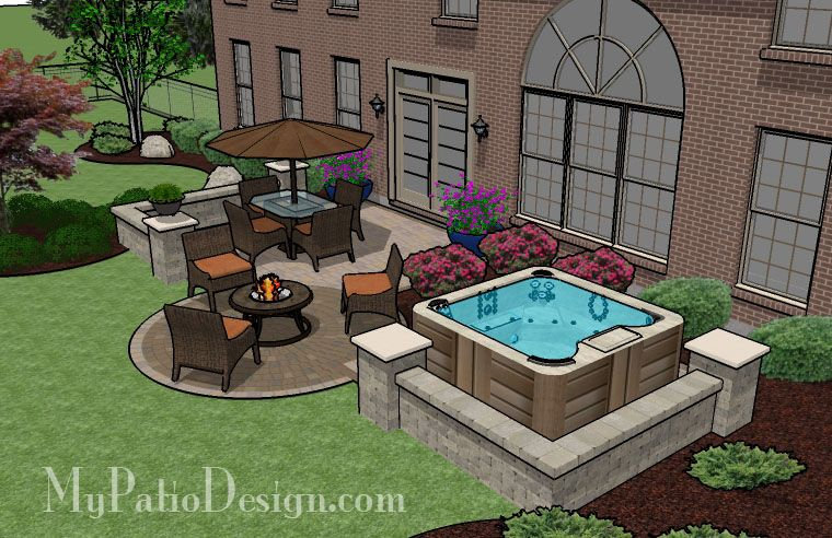 445 Sq Ft Hot Tub Patio Design With Seat Walls With Images