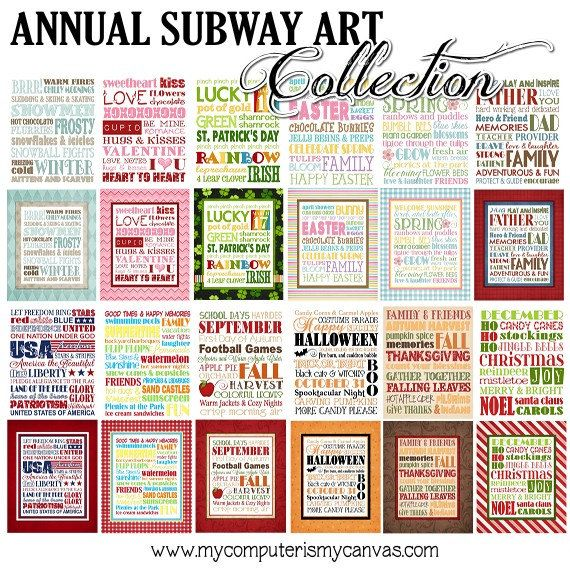 Subway art for every holiday silhouette cameo pinterest annual subway art collection printable via etsy ideas for chalkboard subway art boards pronofoot35fo Image collections