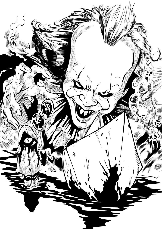 Artstation Pennywise Matt James Horror Movie Art Scary Drawings Horror Movie Tattoos Horror Artwork Horror Drawing Scary Drawings