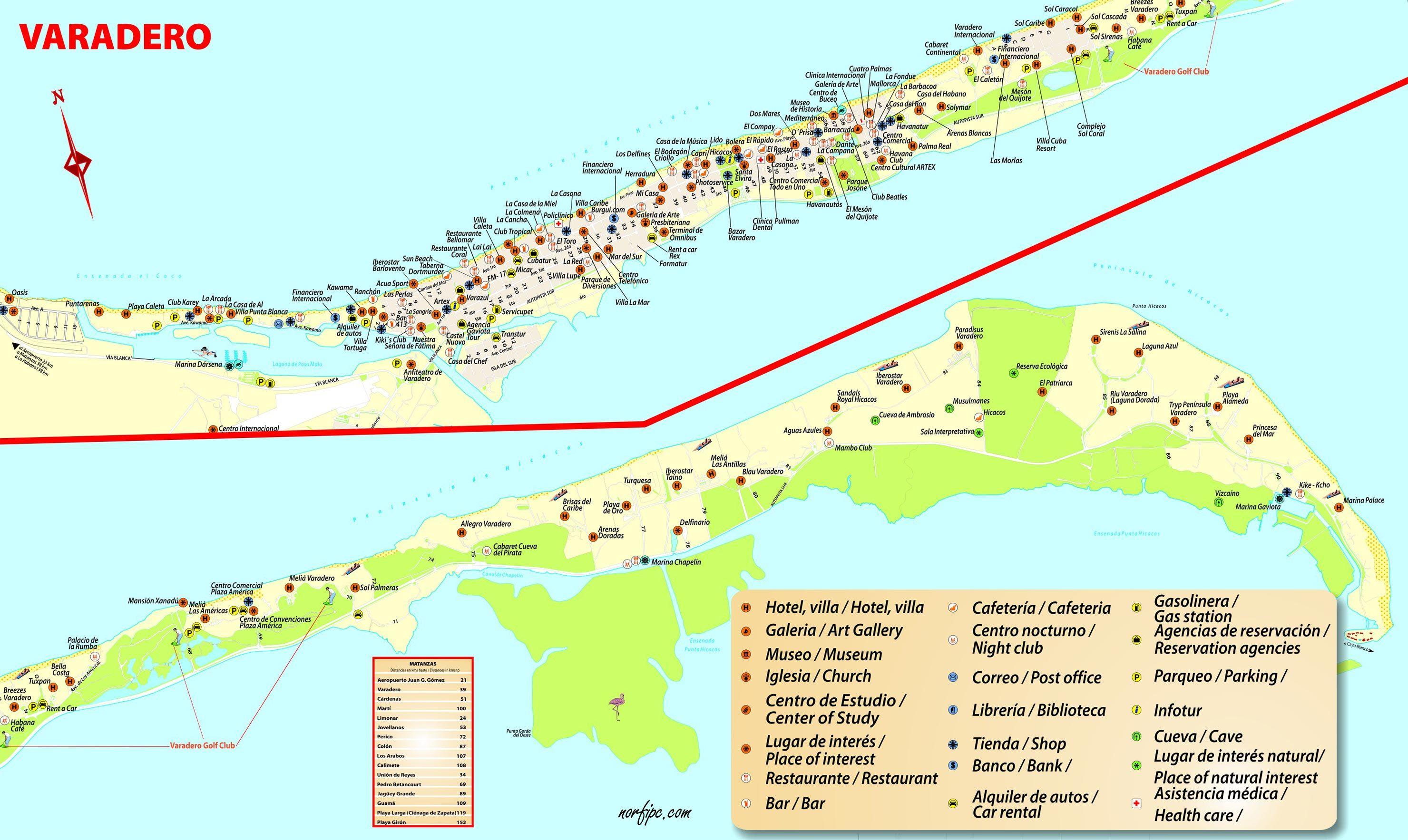 varadero mapa Mapas de sitios turísticos de Cuba para el celular en 2018 | Guía  varadero mapa