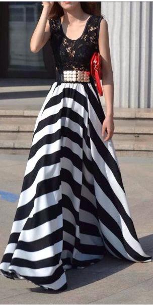 c42f8db79dc6 A Line Striped Lace Panel Maxi Flowy Prom Dress | Ash Class ...