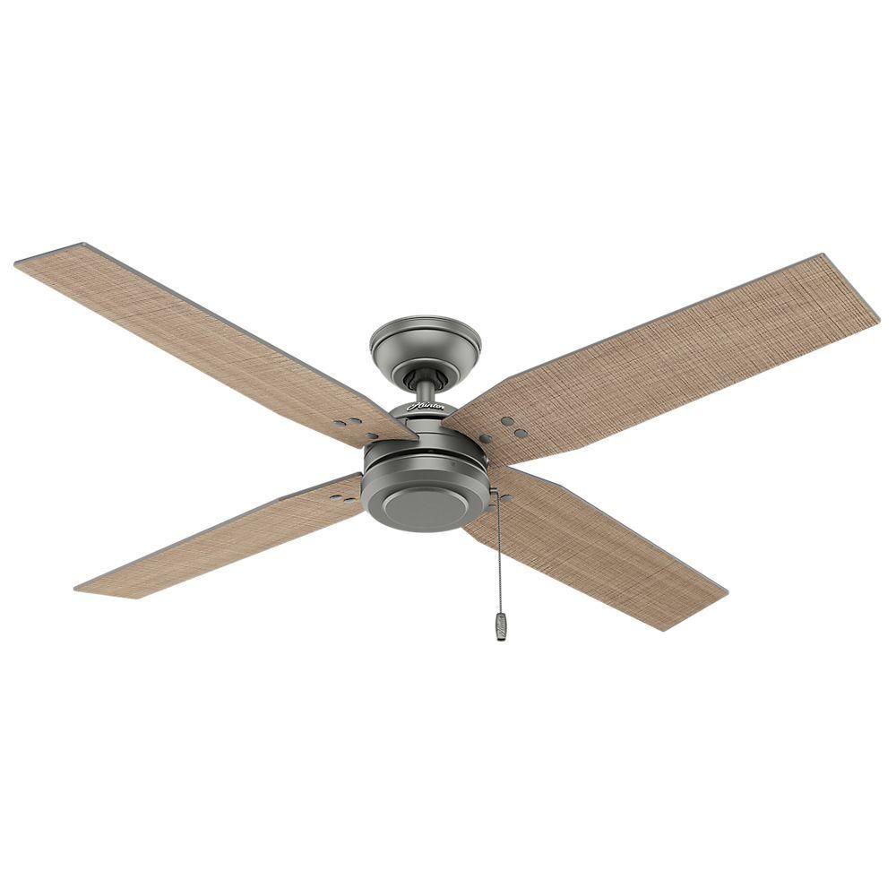Hunter Commerce 54 In Indoor Outdoor Matte Silver Ceiling Fan 59187 The Home Depot Silver Ceiling Fan Ceiling Fan Ceiling Fan With Light