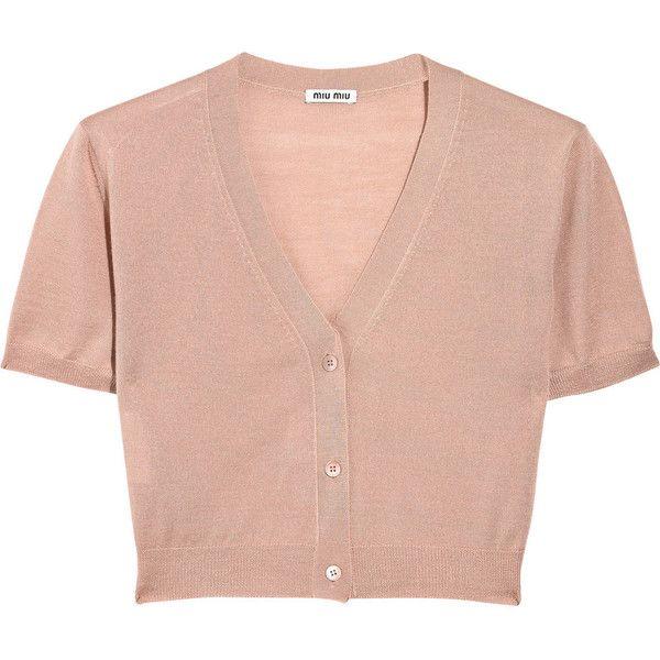 Miu Miu Cashmere and silk-blend cropped cardigan ($215) ❤ liked ...