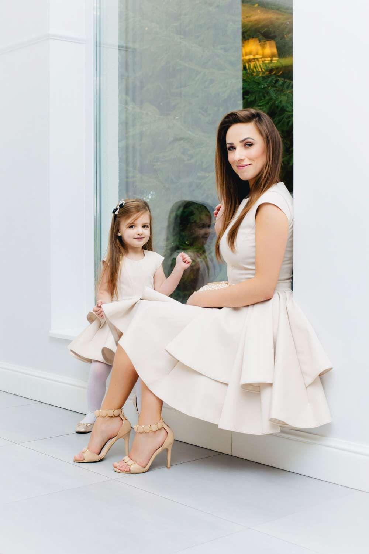Mutter Tochter Brautkleid Blumenmädchenkleid ivory