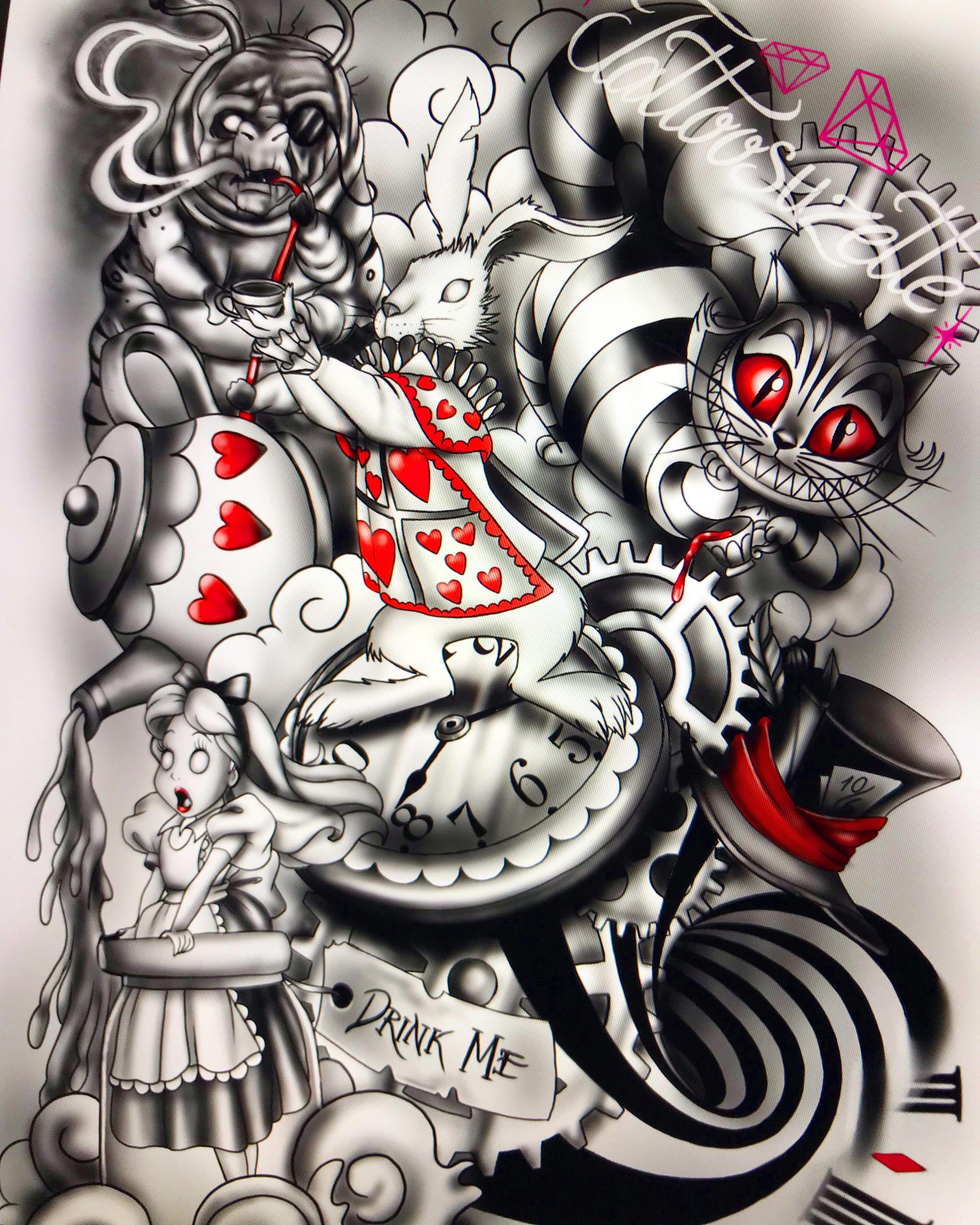 Tatouage Alice Au Pays Des Merveilles Alice In Wonderland Tattoo