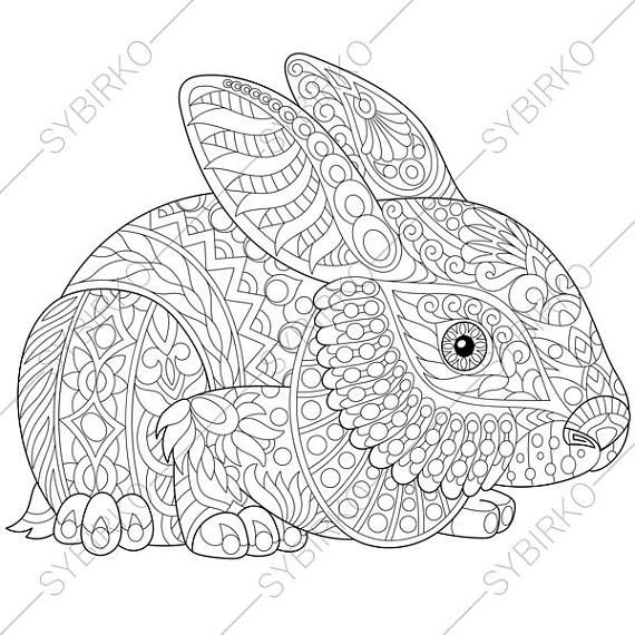 adult coloring pages easter bunny zentangle doodle coloring book page for adults digital illustration instant download print