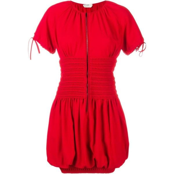 Fendi Smocked Short Sleeve Dress ($2,085) ❤ liked on Polyvore featuring dresses, red, fendi, smocked dresses, fendi dress, short-sleeve dresses and red dress