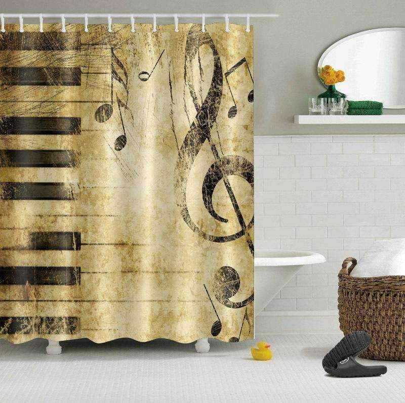 Music Note Vintage Print Shower Curtain For Bathroom Tychome
