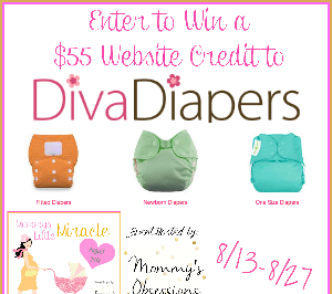 #MommysLittleMiracle #Giveaway Event: Enter to #win $55 to spend at the Diva Diapers website! Ends August 28 (12:00am).