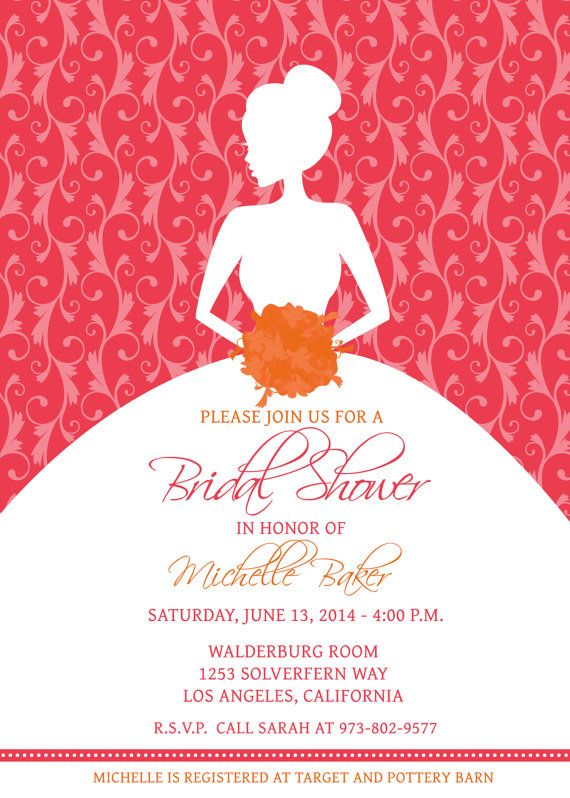 edit your own with photoshop printable bridal shower invitation template pink tangerine orange silhouette bride wedding shower download