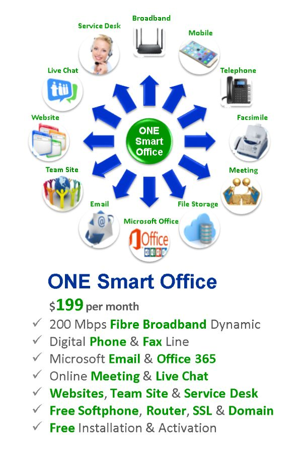 ONE Smart Office @ S$ 199 - Fibre Broadband, Mobile Plan, Telephone