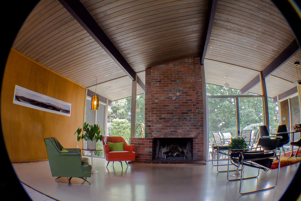 California architect joesph eichler built modern tract homes during the   utilizing mahogany paneled walls redwood ceilings and pictured here cork also beams mid century pinterest panel