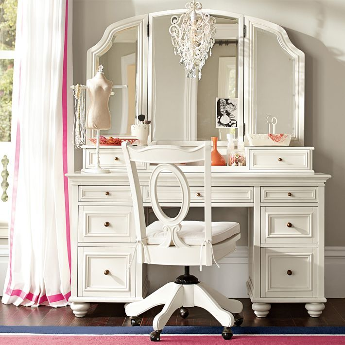 pottery barn teen chelsea vanity girls room pinterest