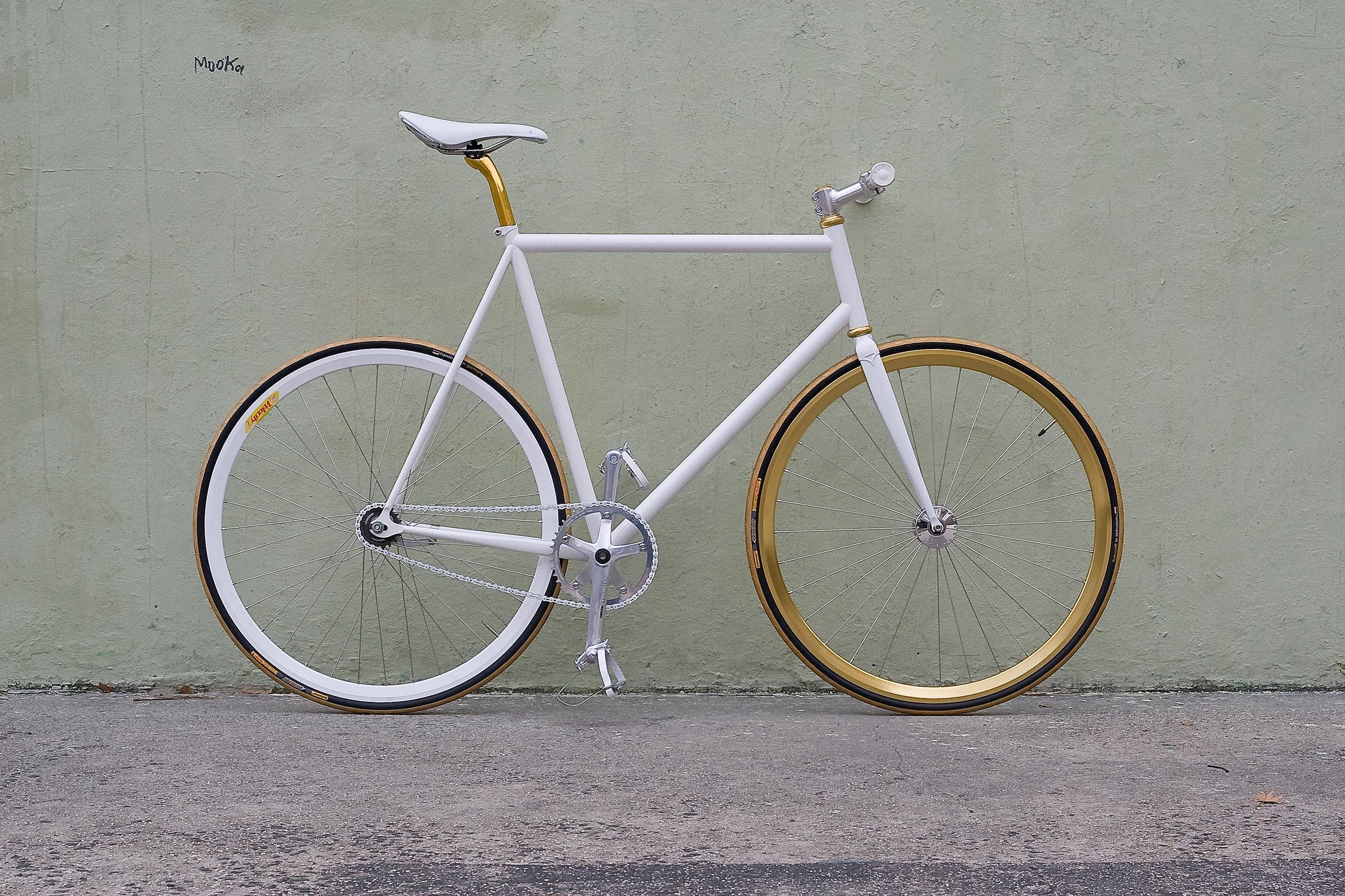 painted bicycle - white and gold