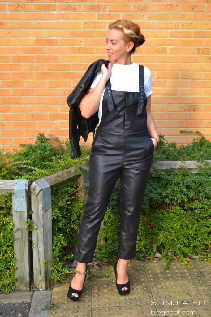 Leder Latzhose Overall Hose schwarz S 38 Lederhose Catsuit