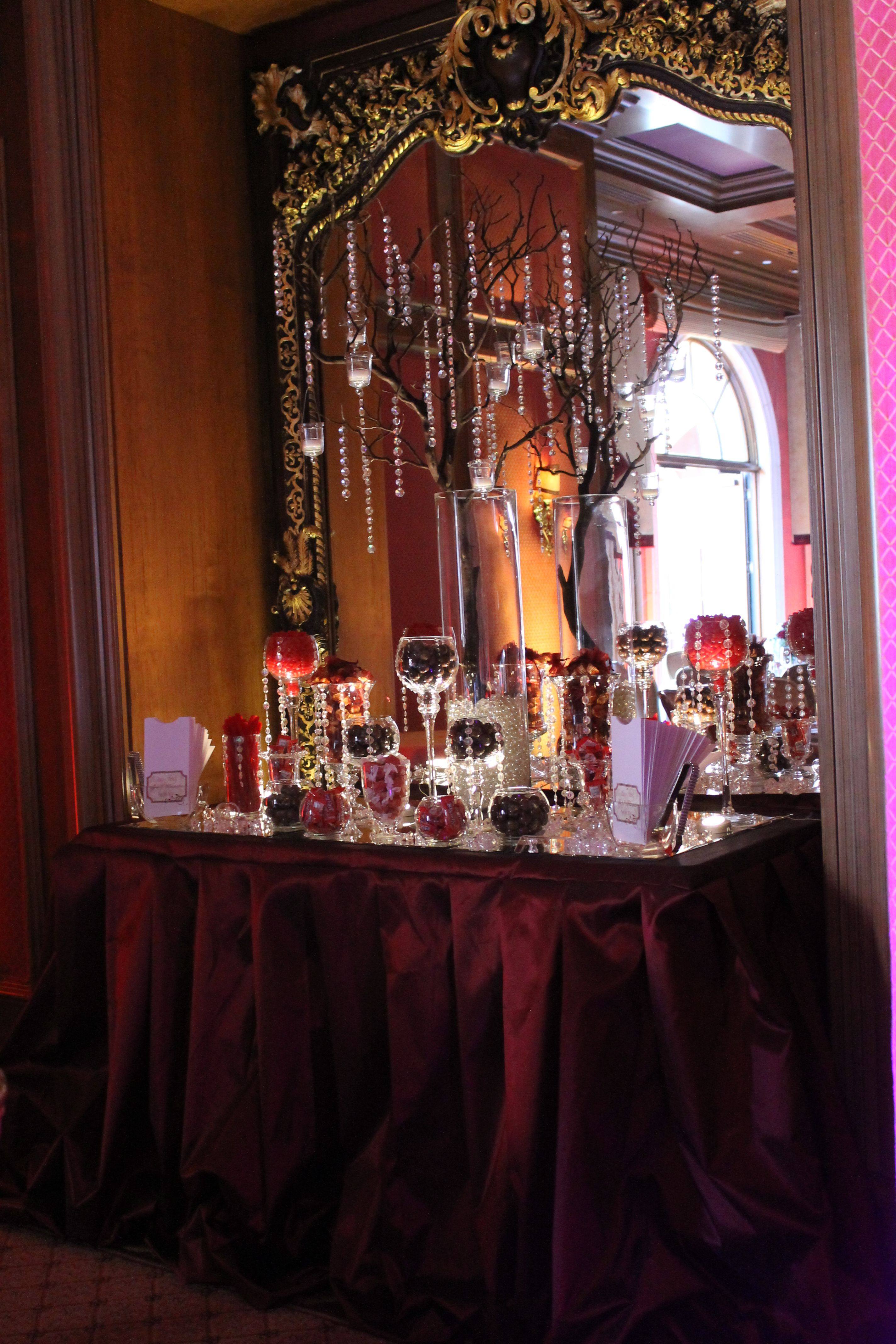 Wedding decor maroon  BY TASTY TABLES burgundy candy buffet burgundy and gold candy