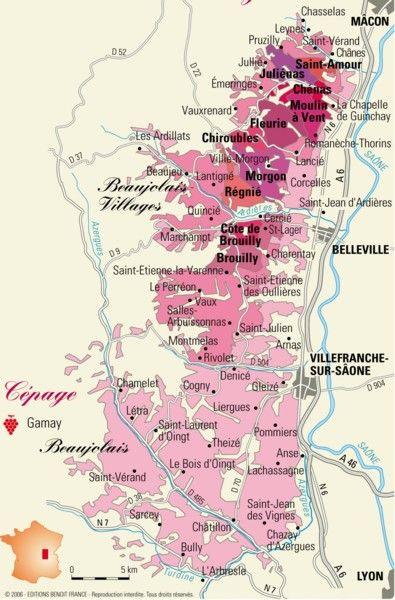 La Carte Des Vignobles Du Beaujolais Avec Images Carte Des Vins Vin Et Biere Vin De Bourgogne