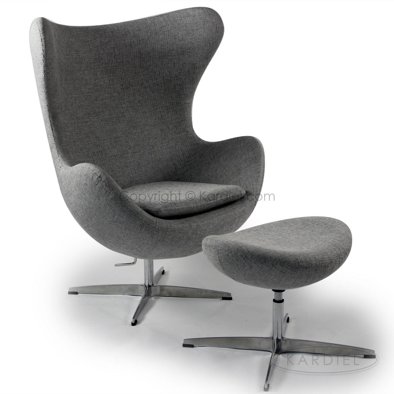 Egg Chair & Ottoman Dacite Retrospeck Twill Fabric