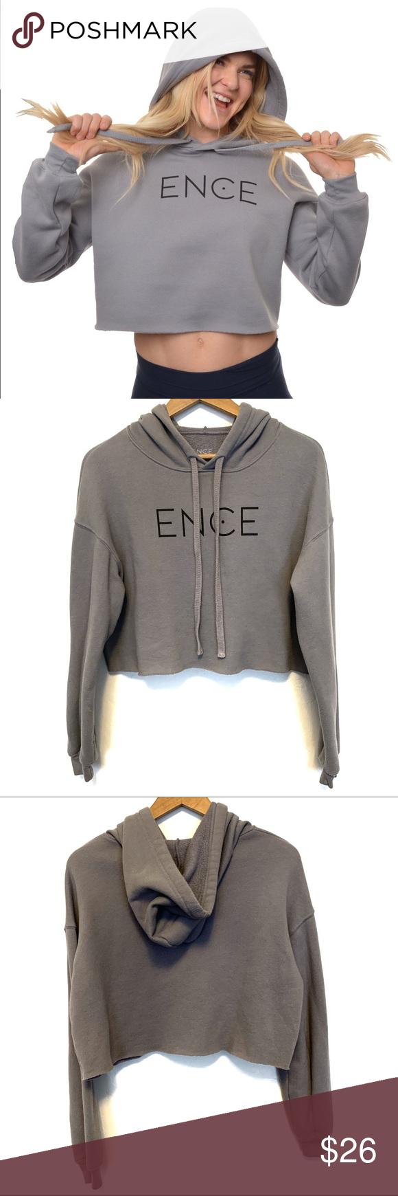 Photo of Encewear Cropped hoodie sweatshirt Encewear Cropped hoodie sweatshirt in gray. N…