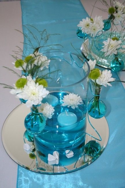 Centre de table eau color e marine pinterest centre de table table mariage et table - Centre de table bleu turquoise ...