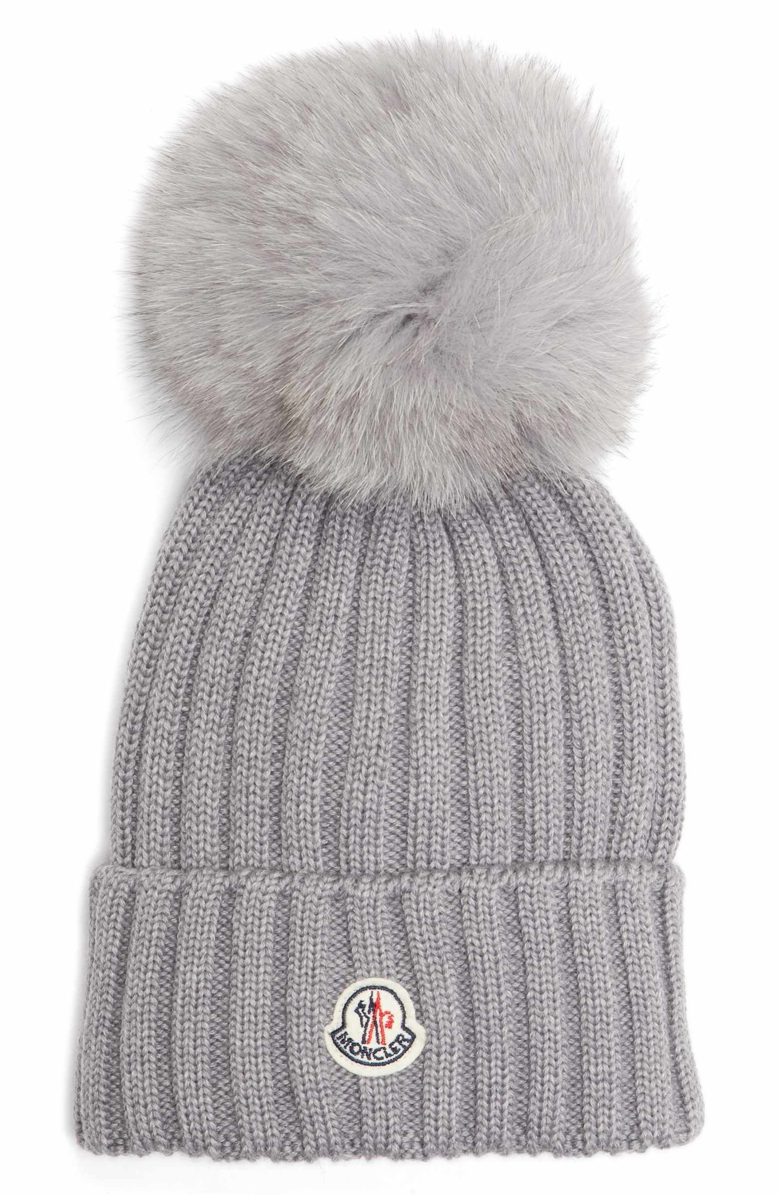 a92a4d5a90a Main Image - Moncler Genuine Fox Fur Pom Wool Beanie