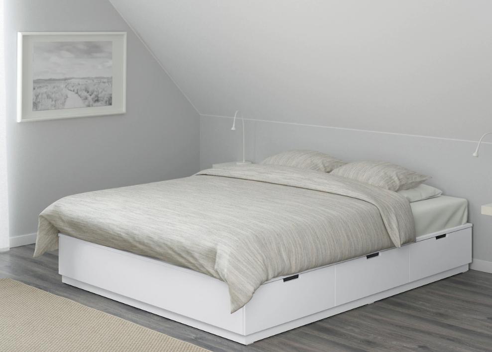 Nordli Cadre Lit Avec Rangement Blanc 140x200 Cm Ikea Lit Rangement Cadre De Lit Cadre De Lit Blanc
