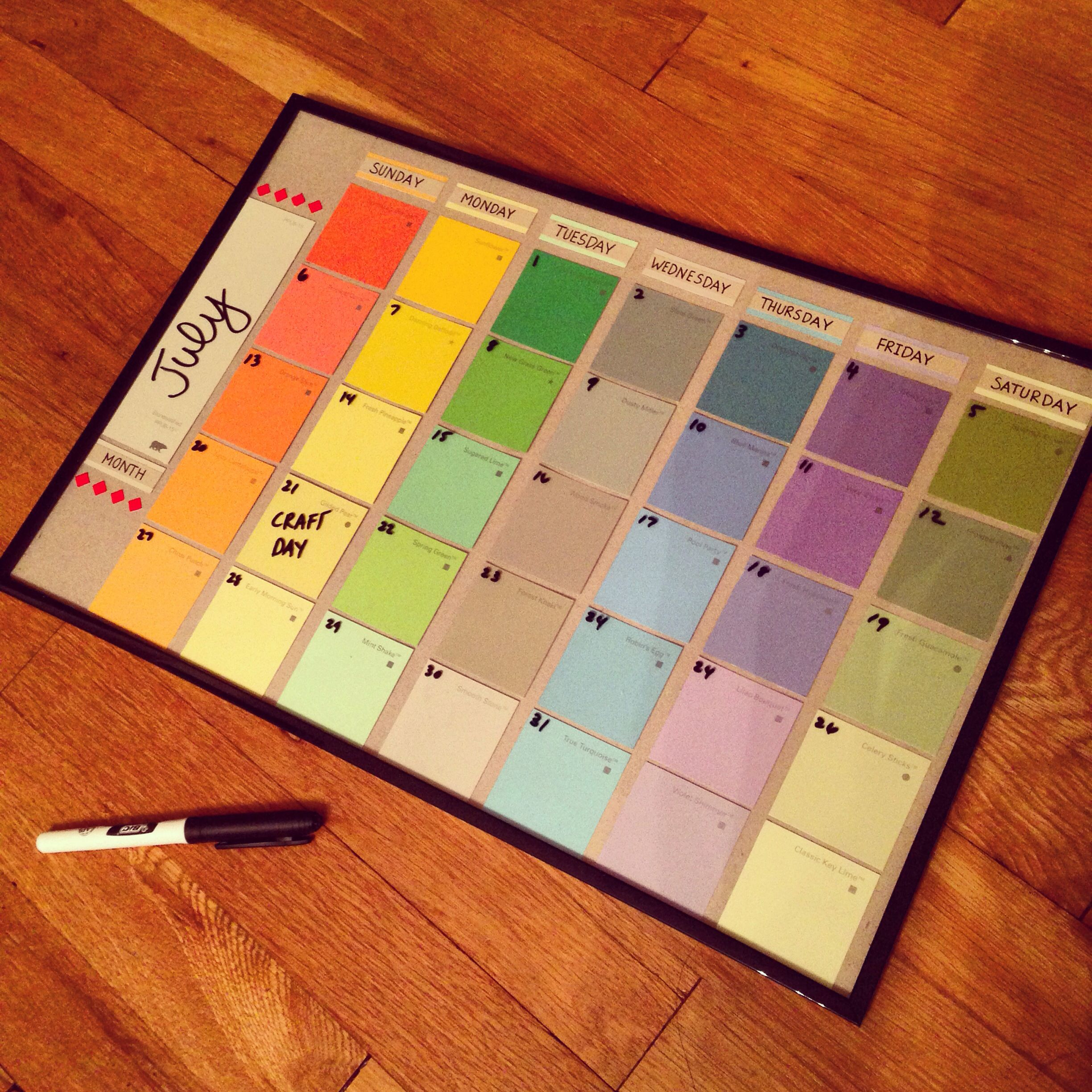 Diy calendar for 6 Frame Paint swatches from Home Depot