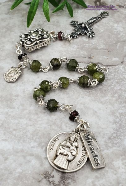 St Anthony Virgin Mary Lourdes Miracles Peridot Garnet Sterling Silver Ornate Rosary Chaplet Happiness Parents Protection Prosperity #catholicrosaries