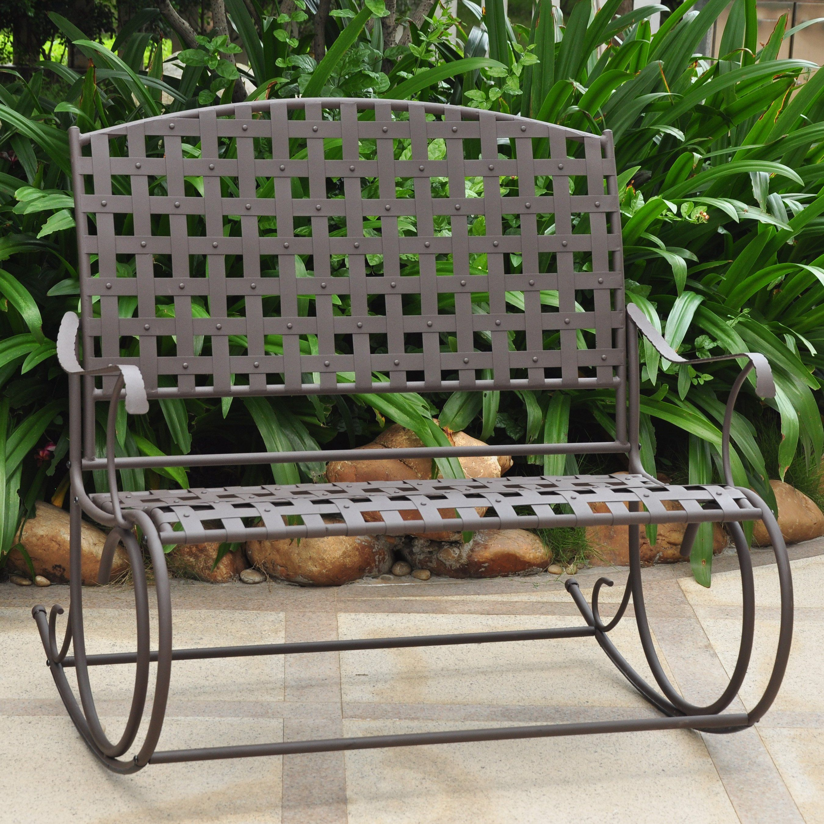 International Caravan Santa Fe Wrought Iron Armless Double Patio Rocker