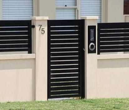 Image Result For Modern Metal Garden Gates Order Online Horizontal Slats Metal Garden Gates Fence Gate Design Brick Wall Gardens